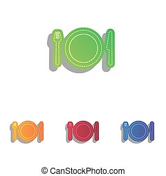 Fork, plate and knife. Colorfull applique icons set.