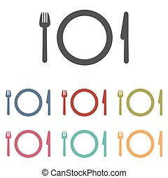 Fork, plate and knife icons set