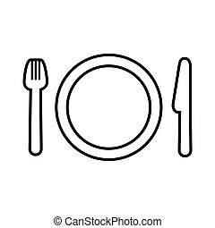 Fork, plate and knife line icon