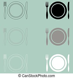 Fork plate kitchen knife icon.