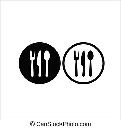 fork, spoon and knife black icon concept. Plate, fork, spoon and knife vector illustration