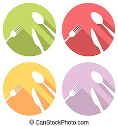 Fork Spoon And Knife Flat Icons Set