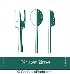 Fork, spoon and knife icon isolated. Dinner time. Eating, nutrition regime, meal time and diet concept. Vector Illustration