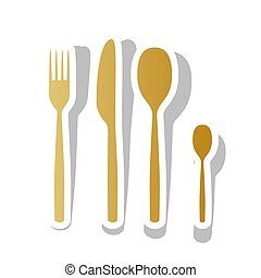 Fork spoon and knife sign. Vector. Golden gradient icon with whi