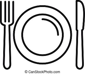Fork spoon dish icon, outline style