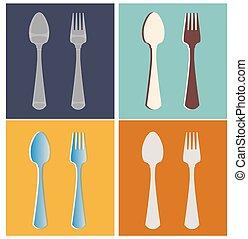 fork, spoon