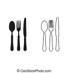 fork spoon knife - green vector icon