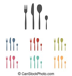Fork spoon knife icons set