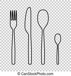 fork spoon knife line vector icon