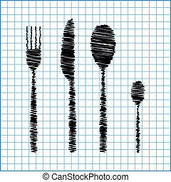 fork spoon knife with pen effect on paper