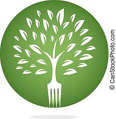 Fork tree logo design for restaurant or cafe.