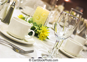 A table laid out for fine dining