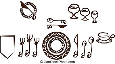 Formal Table setting placement. Artistic design tableware. Isolated on a white background.