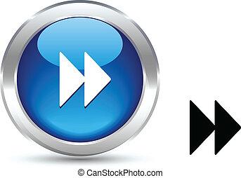. Forward realistic button. Vector illustration. .
