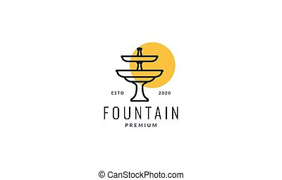 fountain with sunset logo vector icon illustration design
