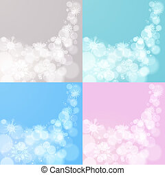 Abstract Christmas EPS10 vector background with snowflakes in 4 variants