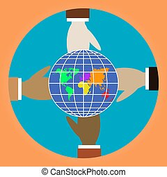 Four different colors of people hands hold globe