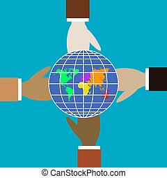 Four hands of different colors hold the globe.