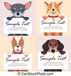 Four Purebred Dogs Holds White Cards for Text