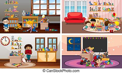Four scenes with children playing in different rooms illustration