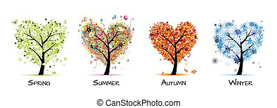 Four seasons - spring, summer, autumn, winter. Art tree beautiful for your design