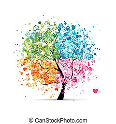 Four seasons - spring, summer, autumn, winter. Art tree made from hearts for your design