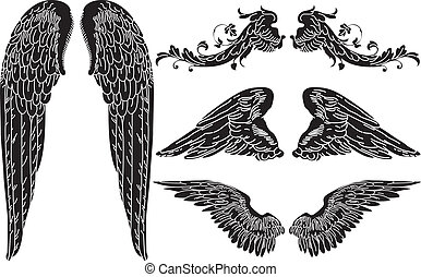 Four Sets of Detailed Angel Wings
