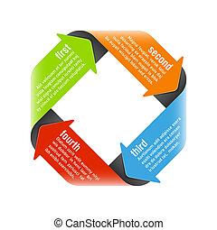 Four steps process arrows design element