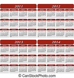Four Year Calendar in Red for the years 2011, 2012, 2013, 2014