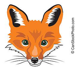 Illustration of fox head cartoon style