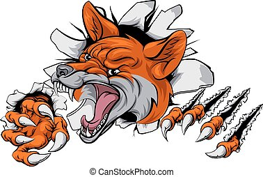 An illustration of a fox animal sports mascot cartoon character tearing through background
