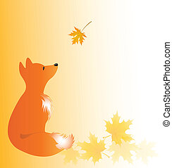 Backdrop with young fox and maple leaves