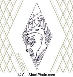 Fox Tattoo Hand Drawn Black