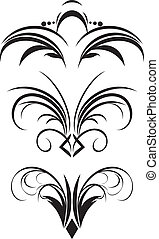 Fragment of gothic ornament. Three patterns. Vector illustration