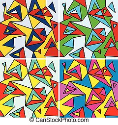 Fragments of the abstraction, cubism and pop-art (seamless pattern set)