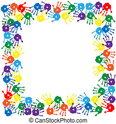 Frame of a colorful hand prints