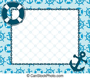 A frame with the sea and ship symbols.