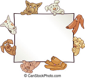 illustration of empty frame with funny dogs