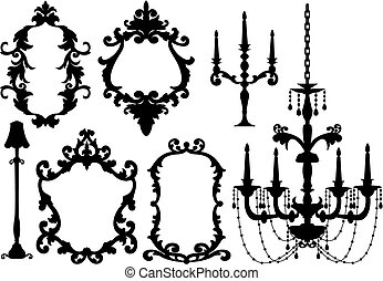 antique picture frames and crystal chandelier silhouette, vector
