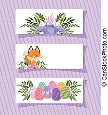 frames with one cute fox, purple flower and easter eggs