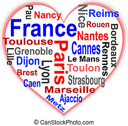 France in heart and words cloud with larger cities