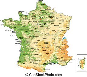 Highly detailed physical map of France, in vector format, with all the relief forms, regions and big cities.