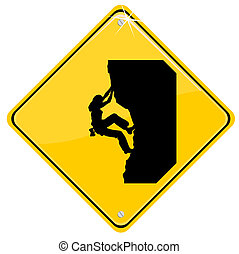 Yellow sign with a climbing woman