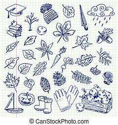 Freehand drawing autumn items on a sheet of exercise book. Vector illustration. Set