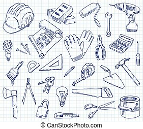 Freehand drawing building materials on a sheet of exercise book. Vector illustration. Set