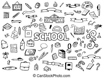 Freehand drawing doodles items. Back to school. Vector illustration. Design ellements
