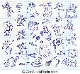 Freehand drawing halloween on a sheet of exercise book. Vector illustration. Set