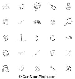 Freehand drawing school items . Back to School. Vector illustration. Set