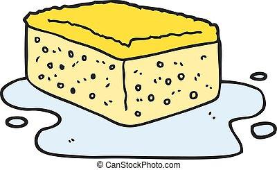 freehand drawn cartoon sponge