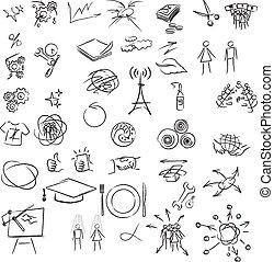 Freehand elements for design. Vector illustration on white background.